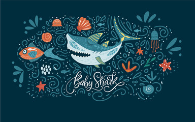 Cartoon Vector Shark Illustration. Baby shark cute design with sea animal fishes and hand drawn lettering quote.