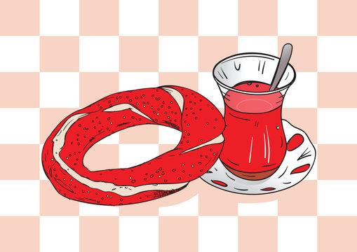 hand drawn turkish tea and turkish bagels. vector famous turkish tea, turkish bagel illustration