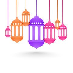 Flat style lanterns for Ramadan Mubarak.
