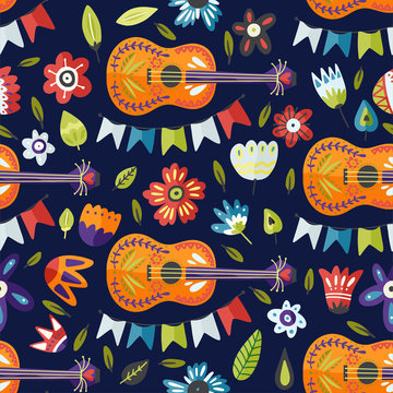 Seamless festival vector pattern with guitar and flowers. Colorful Mexican musical background, fiesta carnival symbol.