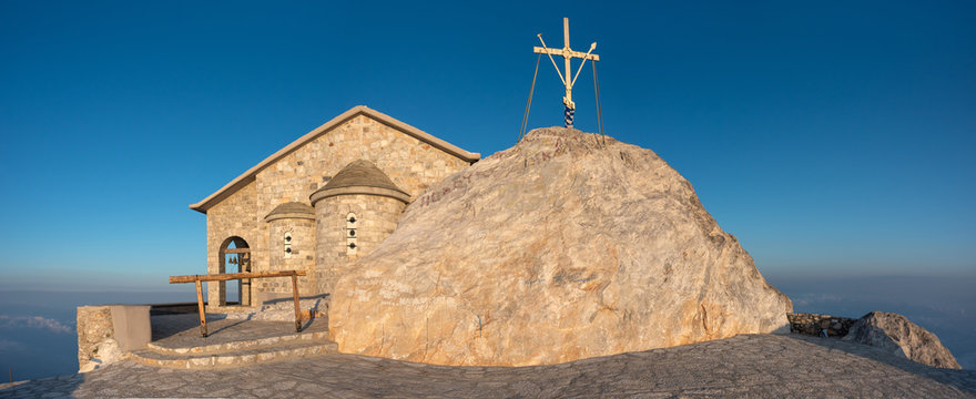 The Church of the Transfiguration and Holy Cross on the top of Athos Mountain, Halkidiki, Greece