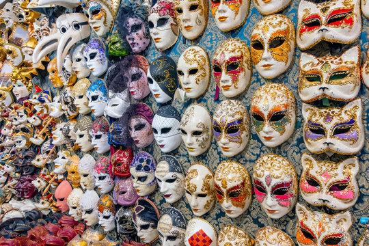 Venice carnival masks for sale, Venice, Italy.