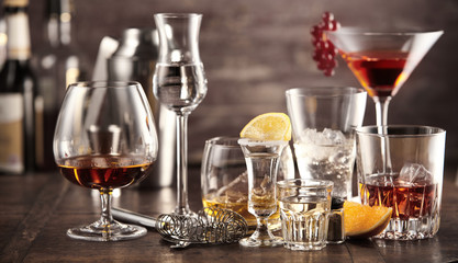 Assorted cocktails and alcoholic beverages