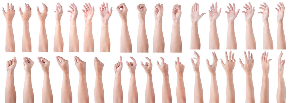 GROUP of Male asian hand gestures isolated over the white background. Soft Grab and Touch Action.