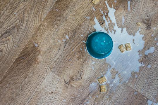 Kids cereal spilled on floor