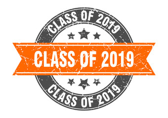 class of 2019 round stamp with orange ribbon. class of 2019
