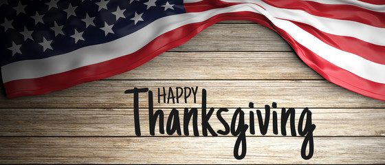 Happy Thanksgiving text and American flag on rustic wood. 3d illustration