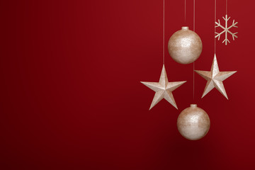 3D rendering of rough metal christmas decorations on red background: Ball, star, snowflake. Copyspace available for custom text