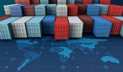 Container cargo ship in import export business logistic on digital world map
