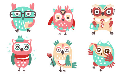 Wall Mural - Set of cute humanized owls with accessories. Vector illustration.