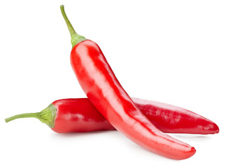 Foto op Canvas Hot chili peppers Chili pepper isolated on a white background. Chili hot pepper clipping path