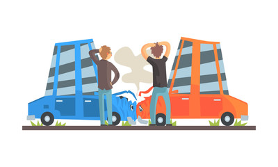 Papiers peints Cartoon voitures Two cars had an accident. Vector illustration.