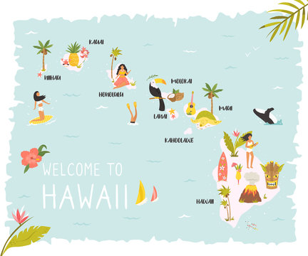 Hawaiian map with icons, characters and symbols.