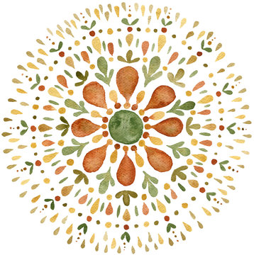 Autumn mandala illustration in earth tones