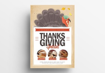 Thanksgiving Flyer Layout with Illustrated Turkey