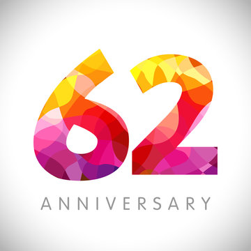 62 nd anniversary numbers. 62 years old yellow coloured logotype. Age congrats, congratulation idea. Isolated abstract graphic design template. Creative 2, 6 3D digits. Up to 62% percent off discount.
