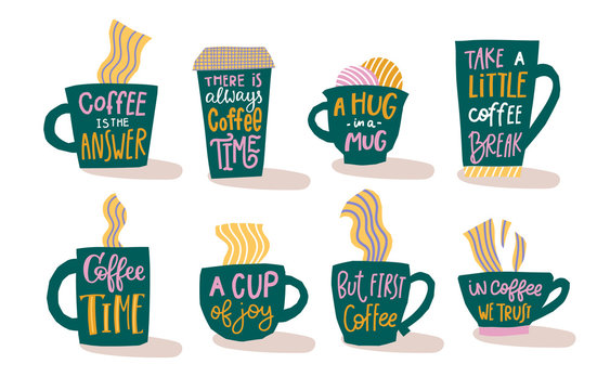 First Coffee time cup joy break quote lettering