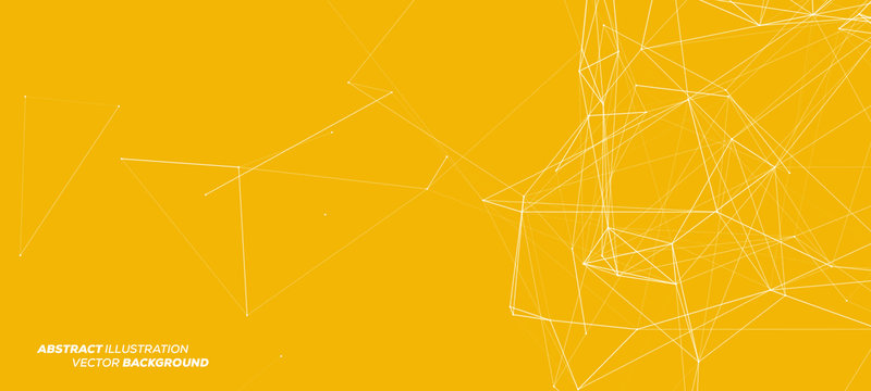 3D White Abstract Mesh on Yellow Background with Circles, Lines and Shapes   EPS10 Design Layout for Your Business