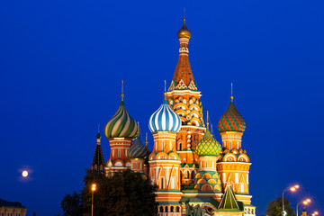 St. Basil's Cathedral at night, Red Square, Moscow