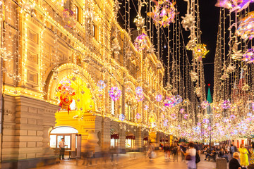 Illuminated Nikolskaya street and the GUM store, Moscow, Russia