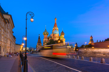 St. Basil's Cathedral at dusk, Red Square, Moscow