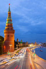 Dusk view of the Moscow Kremlin, Russia