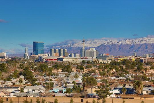 Skyline of Las Vegas in winter 2017