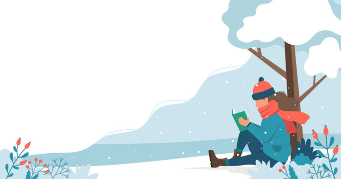 Girl reading in the park in winter. Cute vector illustration in flat style.