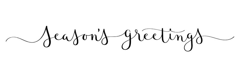 Wall Mural - SEASON'S GREETINGS vector brush calligraphy banner with swashes
