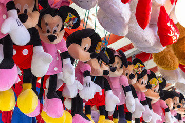 Stuffed toys on display awarded as winning prizes at Christmas funfair Winter Wonderland in London