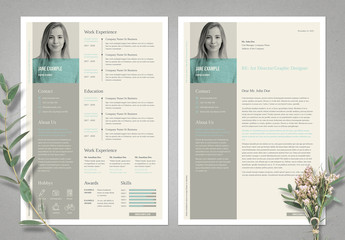 Light Beige Resume and CV Layout Set with Pale Cyan Accents