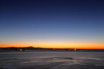Long Beach port, California at dawn