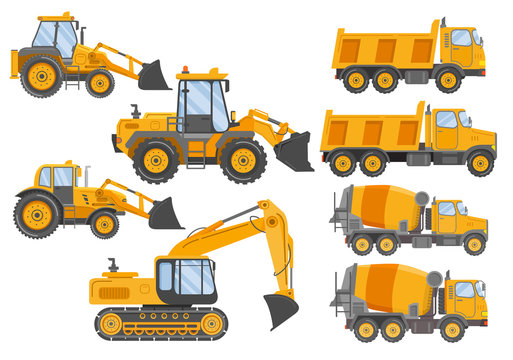 Construction track bulldozer backhoe dipper.Hydraulic excavators.Concrete mixer truck.Construction equipment  tractor.Tipper car side view.Flat vector.Yellow lorry.Isolated on white.