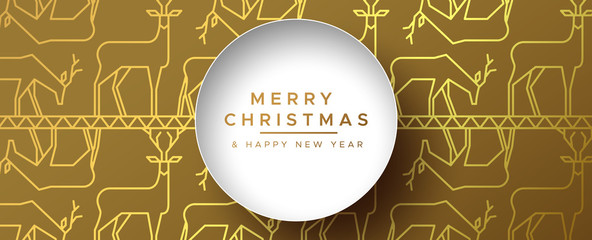 Wall Mural - Christmas New Year gold outline reindeer banner
