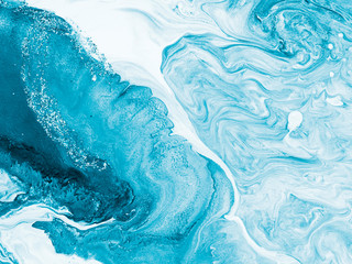Fototapeta Blue with silver creative abstract hand painted background, marble texture, abstract ocean obraz