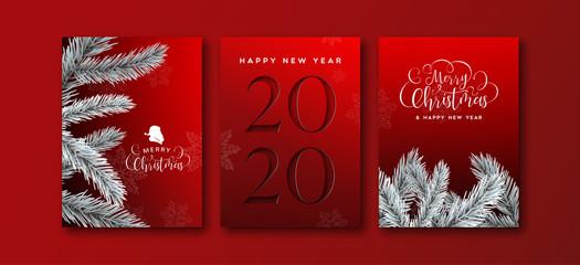Wall Mural - New Year 2020 cutout pine tree greeting card set