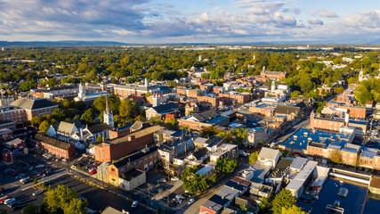 Obraz Early Morning Aerial View Over Downtown City Skyline Carlisle Pennsylvania - fototapety do salonu