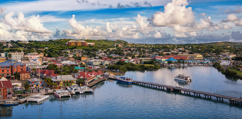 Port in the caribbean ocean