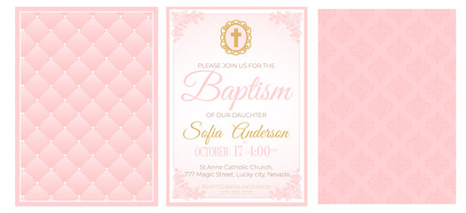 Baptism cute pink invitation template card. Set of illustration for baby girl christening ceremony, communion or confirmation. Little princess birthday, baby shower background. Blush soft rose color