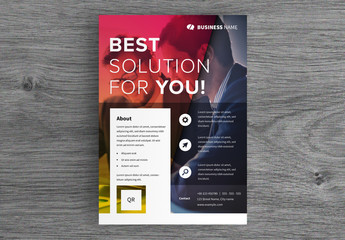 Business Flyer Layout with Colorful Image Overlay