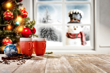 Wall Mural - Winter window and christmas time. Free space for your decoration.