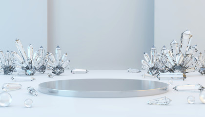 Abstract Luxury metal stage mock up with caustic crystal and glass ball template for advertising product 3d rendering.