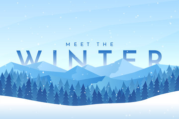 Foto auf AluDibond Himmelblau Vector abstract flat winter landscape. Minimalistic winter scene. Website template. Cartoon design. Snowfall. Polygonal style. Banner with text behind the mountains. Clear sky with copy space