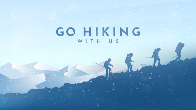 Vector background with tourists. Travel concept of discovering, exploring and observing nature. Winter hiking. Travelers climb with backpack and travel walking sticks. Blue winter snowy landscape