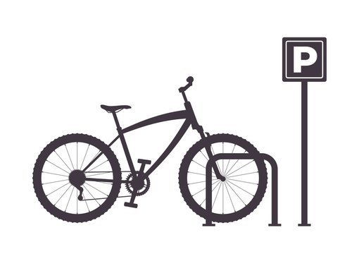 Bicycle Parking, simple graphic monochrome vector illustration. Bicycle Parking Icon. Bike parking silhouette.