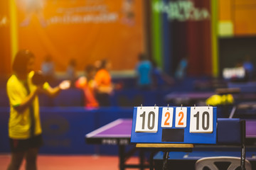 Deurstickers New York TAXI score board of table tennis in competition tournament