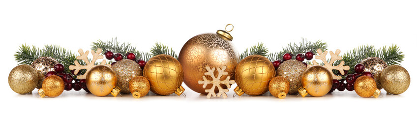 Wall Mural - Christmas border of gold ornaments with branches. Side view isolated on a white background.