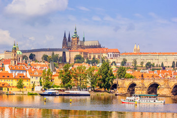 Tuinposter Praag City summer landscape - view of the Hradcany historical district of Prague and castle complex Prague Castle, Czech Republic