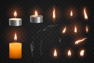 Realistic candle flame and smoke