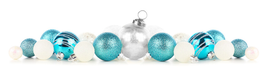 Wall Mural - Christmas border of blue and white ornaments. Side view isolated on a white background.